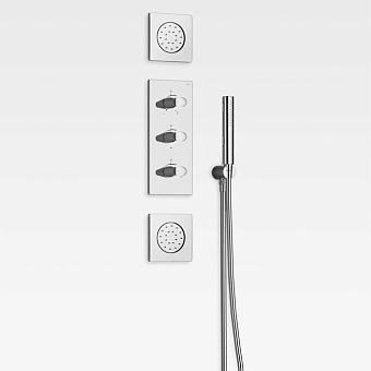 Armani Roca Island Комплект встраиваемой душевой системы.: термостат на 5 источников, ручной душ, кронштейн, шланг, 2 форсунки, цвет: хром