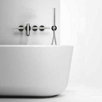 Falper Cilindro Смеситель для ванны, 5 отв., настенный, цвет: нержавеющая сталь/черный