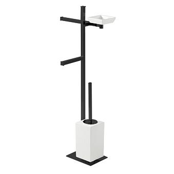 StilHaus Urania Стойка: мыльница + полотенцедержатель + бумагодержатель + керамический ерш, цвет: черный матовый/белая керамика