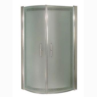 Душевое ограждение Gentry Home Arcadia 80х187 см угловое, полукруглое, матовое стекло с прозрачным декором, дверь распашная, ручки и профиль - хром