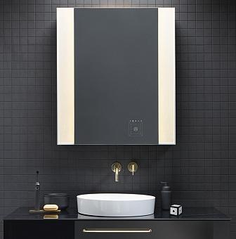 Burgbad RL40 Зеркальный шкаф 80х15х80см., 1 зерк. дверь с обоих сторон, 2 стеклянные полки,версия левая, Smart-Home-System, 2 розетки