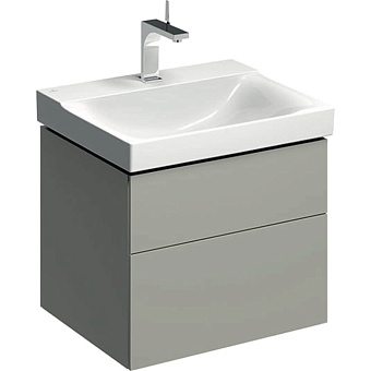 Geberit Xeno² Тумба с раковиной 58х22х46.2см, с 1 отв., подвесная, с двумя выдвижными ящиками, цвет: серый матовый