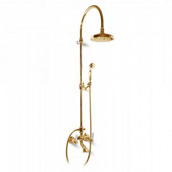 Bongio Oxford Lux, Смеситель для ванны, цвет: золото/белый фарфор