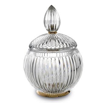 3SC ELEGANCE Баночка универсальная, D=15/h20 см, с крышкой, настольная, цвет: прозрачный хрусталь/золото 24к.