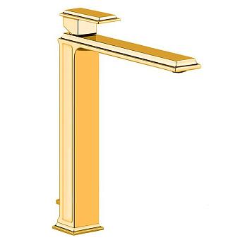 Gessi Eleganza Смеситель для раковины на 1 отверстие, высокий, с донным клапаном, цвет: золото