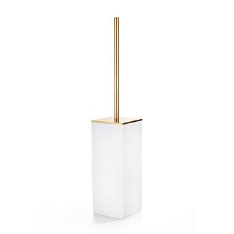 3SC Mood White Туалетный ёршик, напольный, композит Solid Surface, цвет: белый матовый/золото 24к.