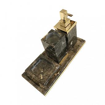 3SC Palace MARMO Комплект: стакан, дозатор, мыльница, лоток, цвет: мрамор Emperador dark/золото 24к. Lucido
