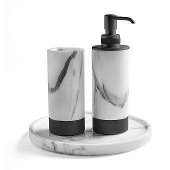 3SC Apuana 2.0 Комплект: стакан, дозатор и лоток, цвет: мрамор Bianco Statuario/черный матовый