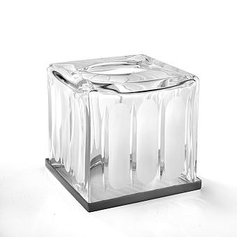 3SC Montblanc Контейнер для салфеток, 13х13хh15 см, настольный, цвет: прозрачный хрусталь/хром