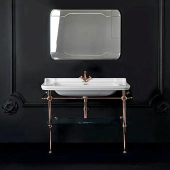 Kerasan Waldorf Металлическая структура с раковиной 120см, со стеклянной полочкой, цвет золото
