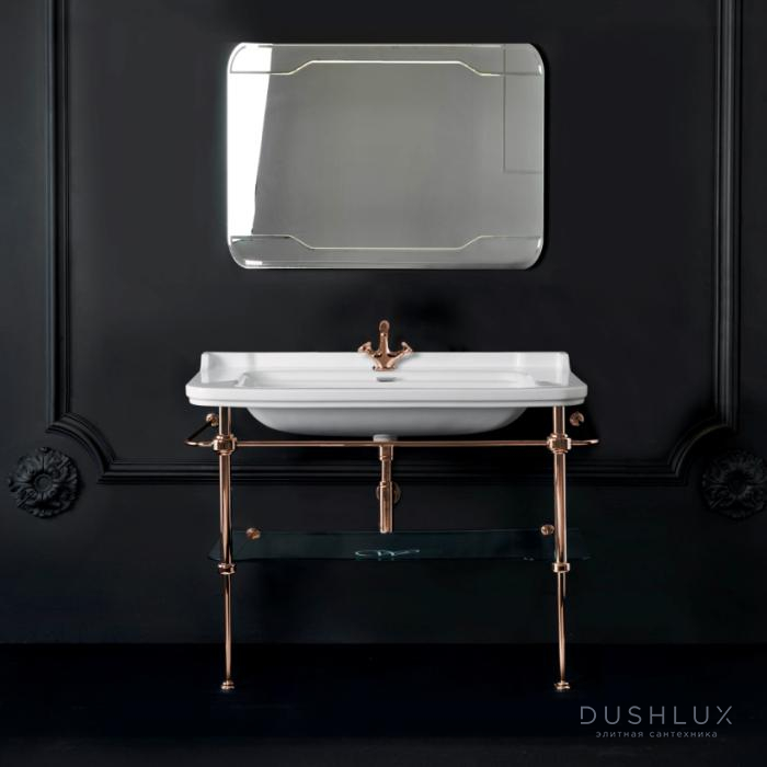 Kerasan Waldorf Металлическая структура 120х42см, с раковиной на 1 отв,, со стеклянной полочкой, цвет золото