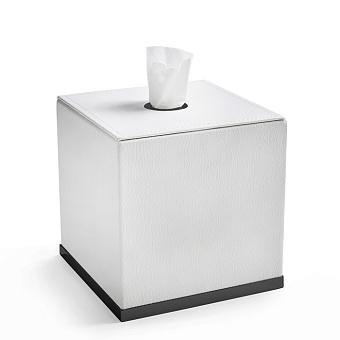 3SC Snowy Контейнер для салфеток, 14х14хh14 см, настольный, цвет: белая эко-кожа/черный матовый