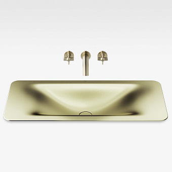 Armani Roca Baia Раковина 90x42 см, без отв., встраиваемая сверху, со скр. переливом, цвет: shagreen matt gold