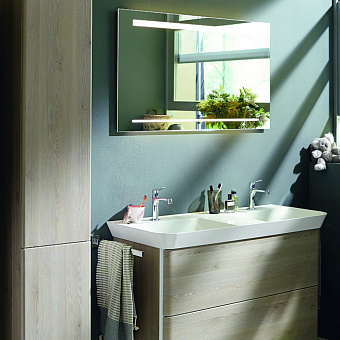 Burgbad Зеркало с подсветкой 110х64х2.5см , сенсорный выкл.с регулировкой силы света, IP24, цвет: алюминий