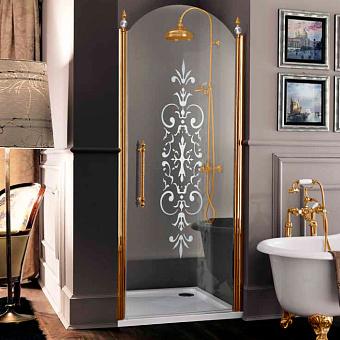 SAMO ETE Дверь-арка распашная в нишу 88-91.5хh203, петли прав, проф золото, стекло R7 прозр.с мат.дек.+St/Cl, ручка верт. золото, 2 дек/эл-т золото