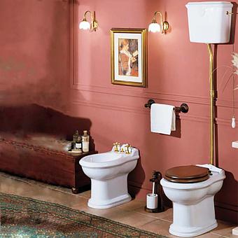 AZZURRA JUBILAEUM унитаз напольный 59*40см слив в стену, с высоким бачком, фурнитурой цвета золото