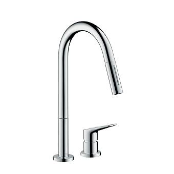Axor Citterio M Смеситель для кухни, однорычажный, на 2 отв, с выдвижным душем, излив: 221мм, цвет: хром