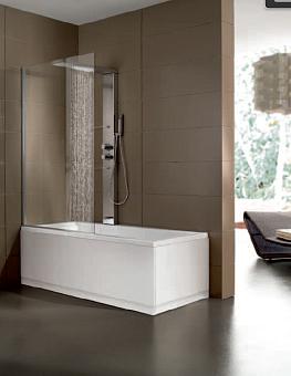 Hafro Era Box Ванна 170x75х59см SX с душ.шторкой и колонной AIRPOOL: аэромассаж, датчик, подсветка, air clean, термостат, верхний душ, рама, сифон, цвет: белый