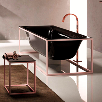 Bette Lux SHAPE Ванна отдельностоящая 180х80х45 см, прямоугольная, на каркасе, покрыта эмалью снаружи и изнутри, BetteGlasur® Plus, цвет: черный/матовый розовый