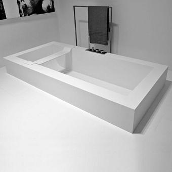 Antonio Lupi Biblio Ванна полувстраиваемая 180х80х53.5 см с регулируемыми ножками и нажимным донным клапаном, цвет: белый