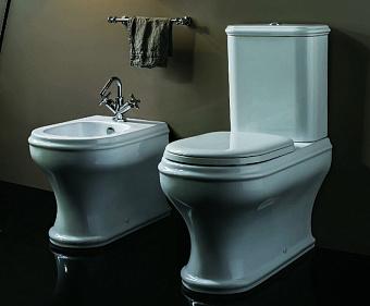 AZZURRA CHARME Унитаз моноблок 68х40см, слив универсальный, с бачком и белым сиденьем с микролифтом, цвет: белый/золото