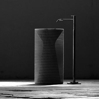Antonio Lupi Introverso Раковина напольная 45хh85см, без отв, без перелива, с д/клапаном, сифоном, слив в пол, мрамор, цвет: Marmo Carrara