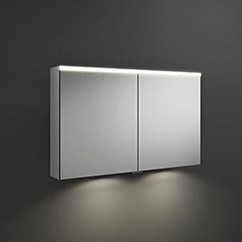 BURGBAD Iveo  Зеркальный шкаф с подсветкой , 1108х680х160 мм,свет. 1 выкл. стекл полки, 2 зеркальн двери с обеих сторон, зеркальная поверхность