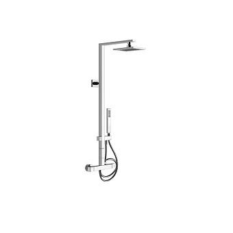 Gessi Rettangolo Термостатический смеситель с верхним душем, авт.переключателем ванна/душ, лейкой и шлангом 1,5м, высота 1060мм, цвет: хром