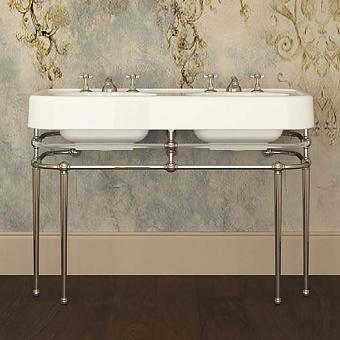 Devon&Devon Crystal Memphis Консоль 123.8х55.7см, с двойной раковиной на 3 отв, плексигласс, цвет: глянцевый никель/плексигласс/белый