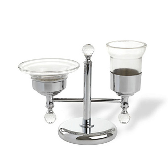 StilHaus Smart light Настольная мыльница + стакан, цвет: хром/стекло