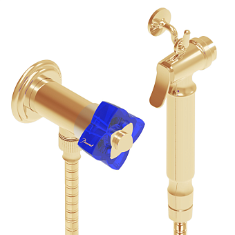 THG Pуtale de cristal bleu Гигиенический душ, цвет: золото/синий хрусталь