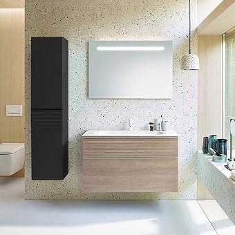 Burgbad Fiumo Комплект подвесной мебели 102х49х61см, с раковиной на 1 отв., ручки белые матовые, цвет: Eiche Dekor Cashmere