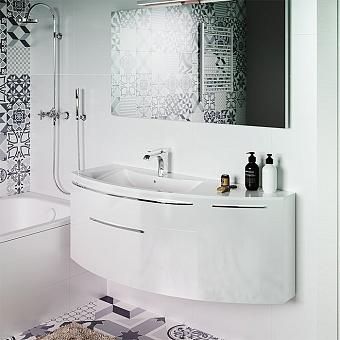 STOCCO Vela Комплект мебели 125х35х48, белый глянец, правое исполнение