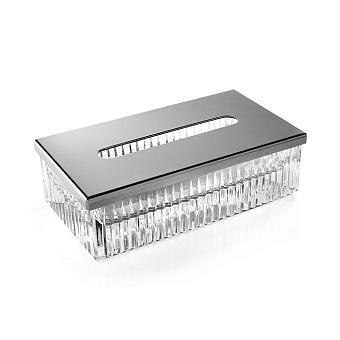 3SC Elegance Контейнер для бумажных салфеток, 23х12,5хh12 см, прямоугольный, настольный, цвет: прозрачный хрусталь/хром
