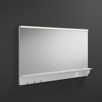 BURGBAD Eqio Зеркало с полкой , светодиод подсв.120х76.9х15см, выкл сбоку справа, 3 крючка, держ для фена справа.