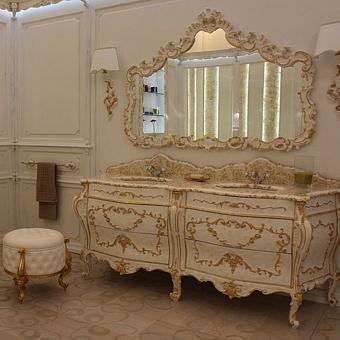 Mobili Di Castello Renoir Bis Комплект мебели 84х214х66 см: напольная тумба, столешница, 2 керамические раковины, резное зеркало, бра, декор Renoir Bis