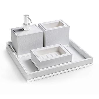 3SC Snowy Комплект: стакан, дозатор, мыльница, лоток, цвет: белая эко-кожа/белый матовый