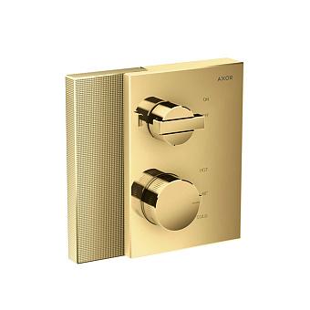 Axor Edge Смеситель для душа, встраиваемый, термостат, на 1 источник, с запорным вентилем, алмазная огранка, цвет: золото