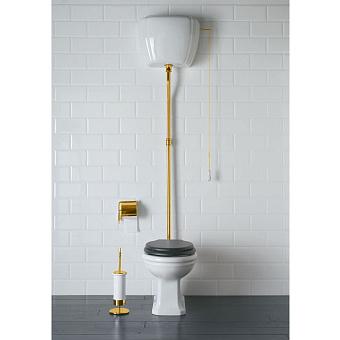 GLOBO Paestum Унитаз напольный 58х37,5см, слив в стену, с высоким бачком, трубойцвет золото