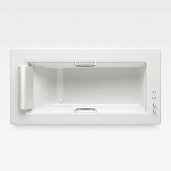 Armani Roca Island Встраиваемая ванна 214.5х110см термостат руч. душ, Hide-Flow, ручки, мягкий подголовник, цвет: glossy white/хром
