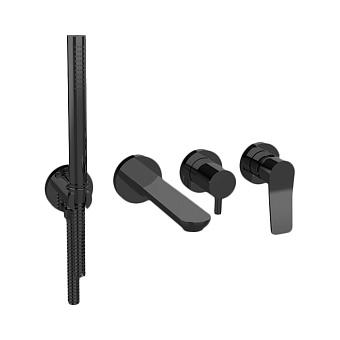 Bongio GIO2 Смеситель встроенный для ванны с ручной лейкой, излив 206 мм цвет: черный матовый