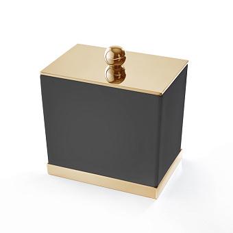 3SC Mood Deluxe Black Баночка универсальная, 10х10х7 см, с крышкой, настольная, композит Solid Surface, цвет: чёрный матовый/золото 24к.