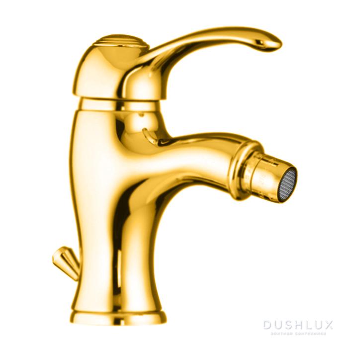 Webert Aurora Смеситель для биде, на 1 отв., с донным клапаном, цвет: золото