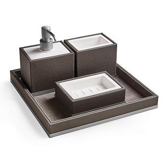 3SC Milano Комплект: стакан, дозатор, мыльница, лоток, цвет: коричневая эко-кожа/хром