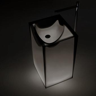 Antonio Lupi Astro Раковина 50х45х85 см, напольная, слив в пол, без отв для смесит, с дон клапаном, сифоном и трубой слива, Cristalmood, цвет: Fumé