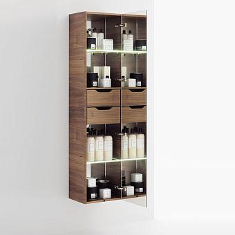 Laufen Alessi One Шкаф подвесной, 400х300х1700мм, с 1 зер дверцей, подсветка, 2 полки, 2 ящика, SX, цвет: орех