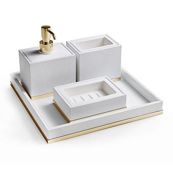 3SC Snowy Комплект: стакан, дозатор, мыльница, лоток, цвет: белая эко-кожа/золото 24к. Lucido