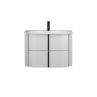 Burgbad Lavo 2.0 Комплект мебели 72х49.5х49.2см., 2 ящика, раковина Velvet с сифоном, с 1 отв., ручки черные, цвет: белый глянцевый