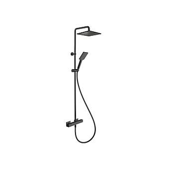 Cristina Quadri Душевой комплект: смеситель термостатический, колонна с верхним душем, ручной душ, гибкий шланг, цвет: черный матовый