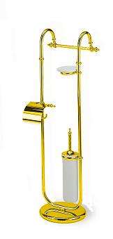 StilHaus Giunone Стойка: мыльница + полотенцедержатель + бумагодержатель закрытый + ерш, цвет: золото/керамика